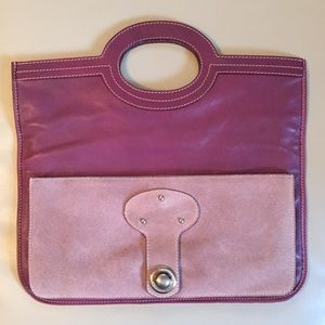 Marc Jacobs Maroon Leather Tote Clutch Bag